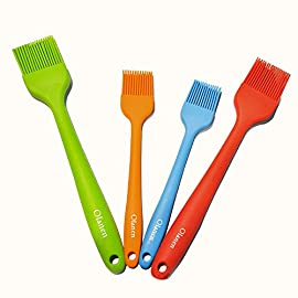 Silicone Basting Brush Pastry Brush Set (Set of 4), Heat Resistant Brush and Dishwasher-safe Perfect for Cooking, Baking, Grilling, Basting and Marinating- Colourful 4 Basting Brush Set: Whether baking, grilling, basting and marinating, barbecue and family gatherings, silicone oil brush a large and a small, fully meet the cooking needs. 100% Food Grade Silicone: The brushes are made with a high performance 100% food grade silicone, with a steel core inside, FDA approved & BPA free. Don't Need to worry about toxins leaching into your food. Heat Resistant Brush: It can withstand heat up to 600 degrees Fahrenheit. It is safe to use for BBQ, baking, even cooking in a frying pan.