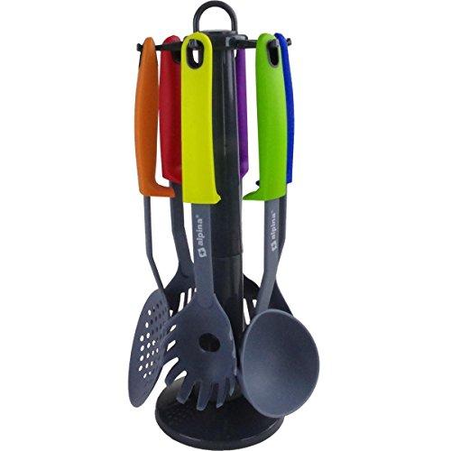 alpina Kitchen Utensils Stand 7pcs, Nylon, Multi-Coloured,