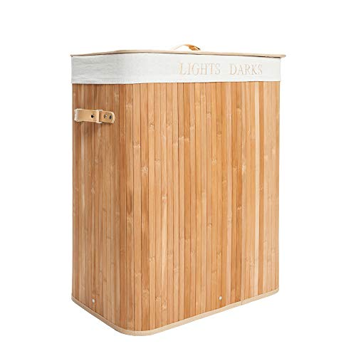 Festnight Bamboo Laundry Hamper Oversized Divided Folding Dirty Clothes Storage Basket with Removable Liners and Lid Handles for Easy Transport