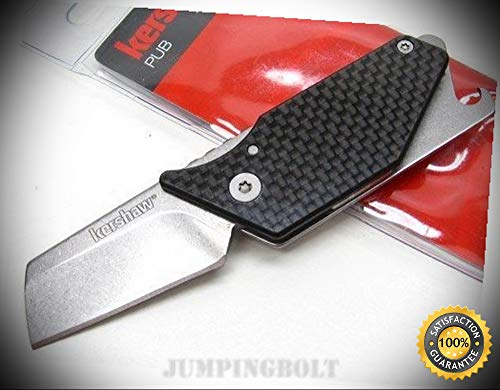 Carbon Fiber Driver - Black Carbon Fiber Pub Straight Folding Pocket Knife Driver 4036CF - Premium Quality Very Sharp EMT EDC