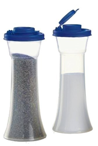 Tupperware Large Hourglass Salt and Pepper Shakers, Tokyo - Salt Pepper And Blue