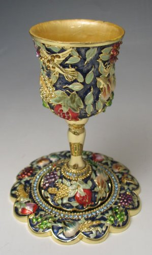 Stunning Beautiful Jeweled Kiddush Cup Seven Fruits with Swarovski Crystals. ()