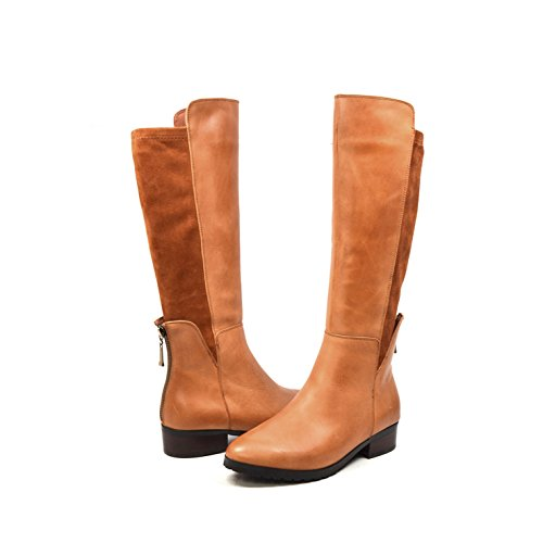 SoleMani Women's X-Slim Collection Timeless Leather/Suede Cognac Boots (Slim Calf Boots)