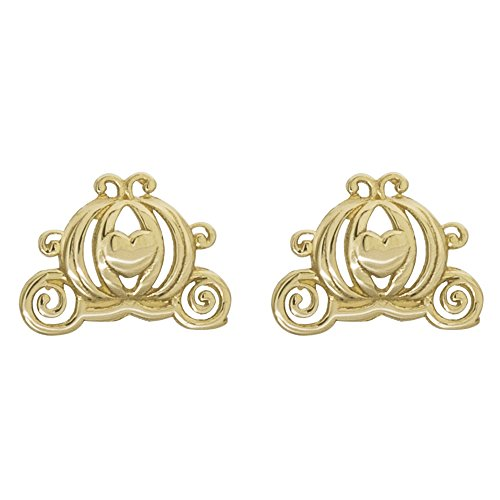 Disney Princess Cinderella Jewelry for Women and Girls, 14K Yellow Gold, Pumpkin Carriage Stud Earrings (Disney Carriage Cinderella)
