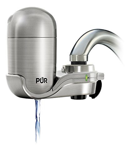 PUR Advanced Faucet Water Filter with MineralClear Filter, Stainless Steel, Vertical, Indicator for Filter Status, Carbon Filter Lasts 3 Months (100 gal), Fits Standard Faucets Easy Install, FM-4000B