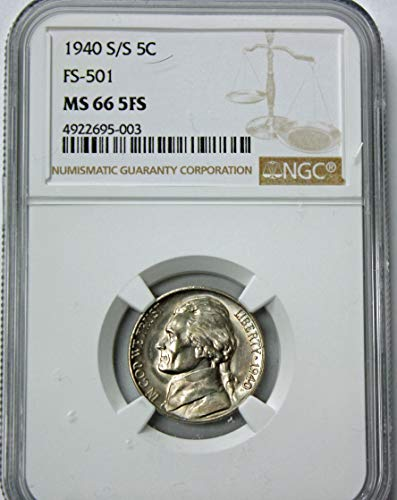 1940 Jefferson Nickel MS66 5FS NGC ()