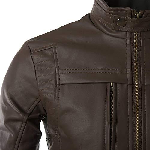 Colletto Slim Inverno Vintage Biker Pelle Giubbotto Lunga A Manica Parka Fit Nappa Sintetica Nero Con Giacca Betrothales Autunno Moto Uomo Jacket In xAfqY0wAF
