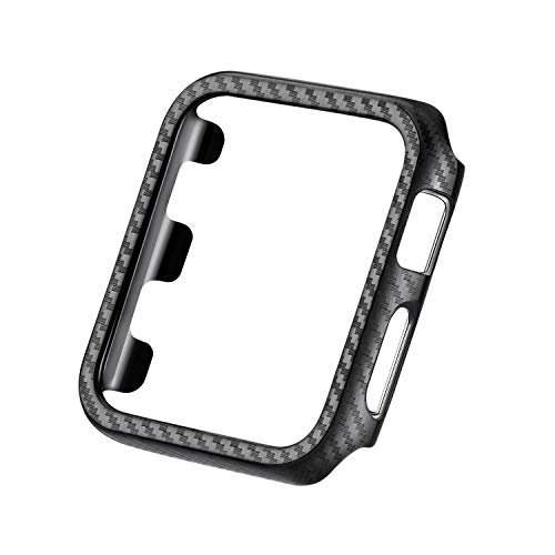 Carbon Fiber Hard Case - Carbon Fiber Texture Hard PC Frame Case High-Gloss/Twill Weave Finish Protective Bumper Cover Compatible 42mm Apple Watch Series 3/2/1
