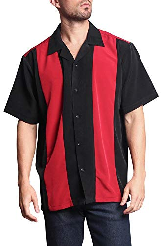 G-Style USA Men's Two Tone Button Up Striped Casual Bowler Guayabera Bowling Shirt 2018-BOW - Red/Black - ()