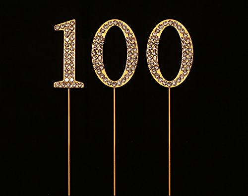 Numbrer 100 for 100th Birthday or Anniversary Cake Topper Party Decoration Supplies, Gold, 1.75 Inches Tall -