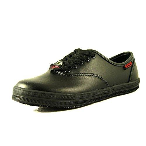 Resistant Slip Flat Server Lace Sassy up 11 Nurse Waitress Womens Medium Laforst Black Leather 3113 nxHXqWU
