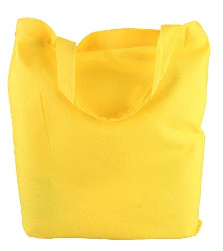 en Sacs Naturel 38x42cm poignées Yellow 2Store24 Courtes Pack de Coton 5 en zt6xIFwq