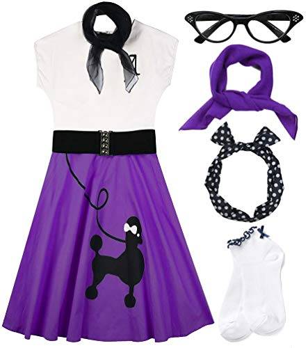 Hofolio 1950s Women Poodle Skirt Scarf Sock Costume Set, Purple, XX-Large -