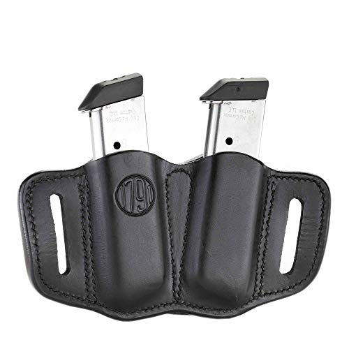 1791 GUNLEATHER 2.1 Mag Holster - Double Mag Pouch for Single Stack Mags, OWB Magazine Pouch for Belts - Classic Brown, Stealth Black, Black & Brown and Signature Brown (Polished Black) ()