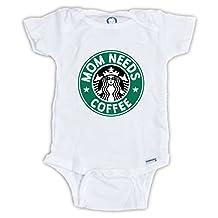 Mom Needs Coffee Onesie, Starbucks Costume, Funny baby gifts