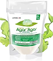 Agar Agar Powder 4oz, Unflavored Pure Vegan Gelling Agent by LIVING JIN, Certified Kosher, Halal, Non-GMO, Glu
