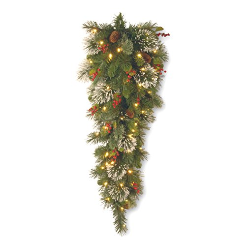 Happy Holly Wreath (National Tree 3 Foot Wintry Pine Slim Teardrop Swag with Cones, Red Berries, Snowflakes and 50 Warm White Battery Operated LED Lights with Timer (WP1-300-3TB-1))