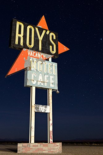 Roy's Cafe Sign, Night Fine Art Photograph Route 66