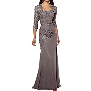 312a858e880 VaniaDress Women Long Mother Of The Bride Dress With Jacket Formal Gowns  V263LF Gray US14