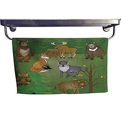 """RenteriaDecor Sports Ttowel Siberian Animals Set Towel W 8"""" x L 23.5"""""""