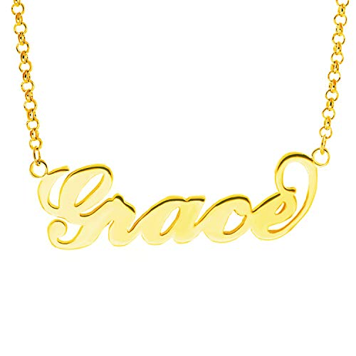 HACOOL Name Plate Necklace Custom Name Necklace Customized Necklace with Any Names in 14K Gold/Silve/Rose Gold Jewelry for Women Grace in Gold ()