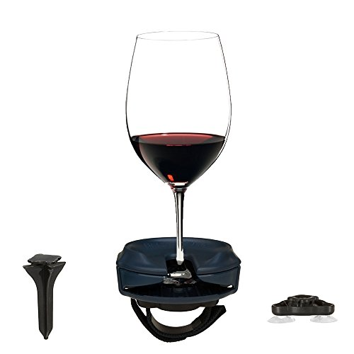 Outdoor Wine Glass Holder by Bella D'Vine - 3 Attachments include Lawn Wine Stake For Picnics, Suction Base For Boats and Hot Tubs, Strap For Patio Chairs or Rails - Fun Wine Gift - Navy Blue (Fun Wine)