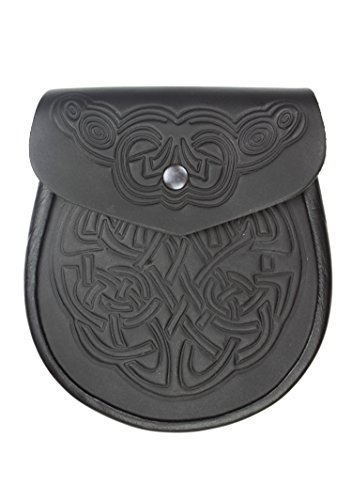 Kilt Society Celtic Embossed Black Leather Sporran by Kilt Society