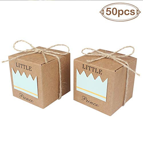 AerWo 50pcs Little Prince Baby Shower Favor Boxes