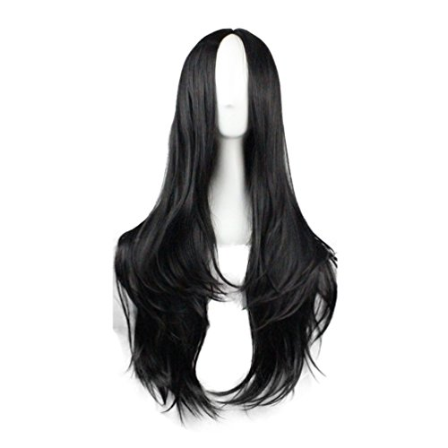 Rise World Wig Women's Sexy 75cm Black Full Curly Wavy Wig Cosplay Costume Party Wig