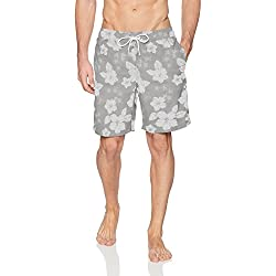 "Amazon Essentials Men's Quick-Dry 9"" Swim Trunk, Grey Hibiscus Print, Small"