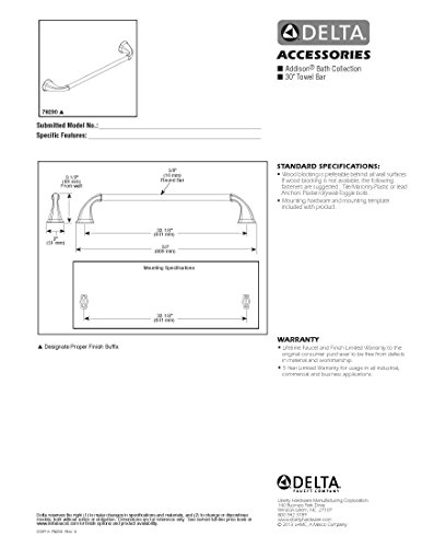 Delta Faucet 79230-SS Addison 30inch Towel Bar Rack, Brilliance Stainless Steel by DELTA FAUCET (Image #5)