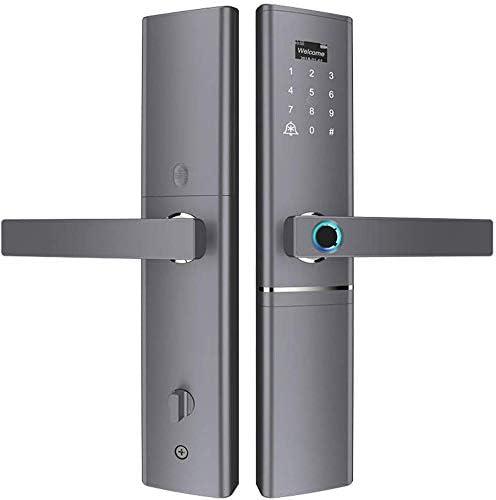 指紋南京錠、電子指紋南京錠、ドアベル付き、高度なスマート指紋デジタルアラームワイヤレスキーロックドア、6つのロック解除方法、すべての木製ドアおよび金属製ドア用、黒
