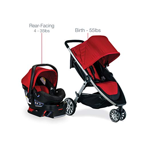 41sluvJshgL - BRITAX B-Lively Travel System With B-Safe 35 Infant Car Seat | One Hand Fold, XL Storage, Ventilated Canopy, Easy To Maneuver, Cardinal