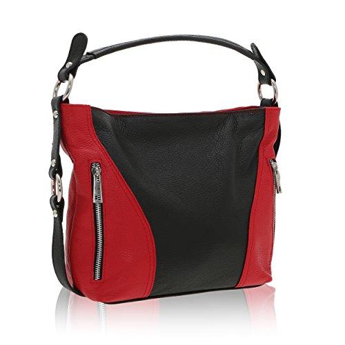 In Bolsa 14 Cm De Cuero Made X En 8 Chicca Rojo Italy Genuino Negro Borse 23 Hombro Mujer OAwWzZx