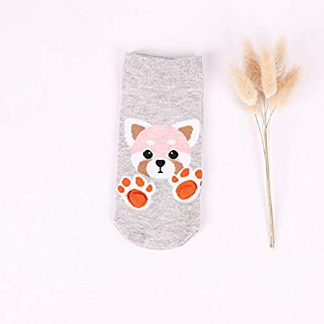 ZHANGJIANHUN Animal Calcetín Corto 3D Barco Gato Garras de Cartoon Cute Mujer Calcetines Fox Perro Tiger 4 Pares, Gris: Amazon.es: Deportes y aire libre