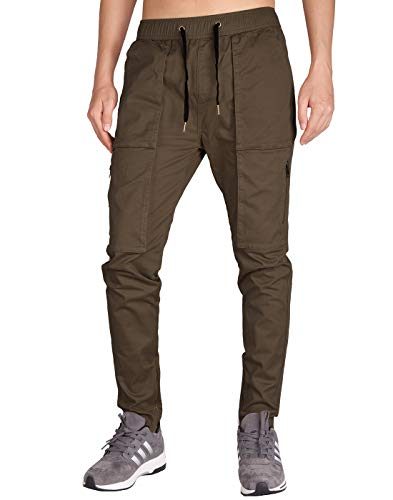 ITALY MORN Men's Chino Cargo Ankle Zipper Casual Pants L - Zipper Coffee