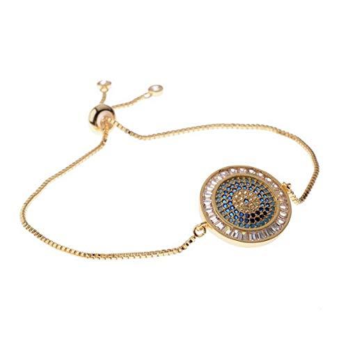 (Mikash Evil Eye Cubic Zirconia CZ Copper Women Men Adjustable Fashion Bracelets Gift | Model BRCLT - 7025 |)