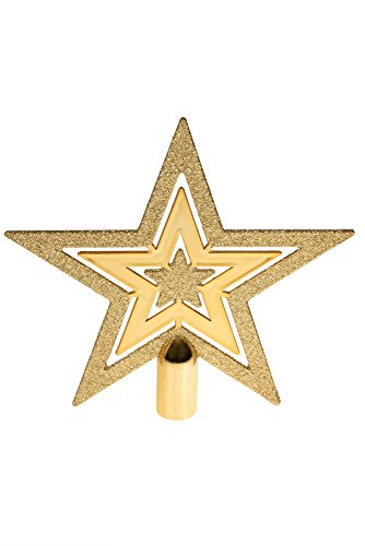 r by Clever Creations | Gold Glitter 5 Point Star | Festive Christmas Décor | Perfect Complement to Any Holiday Decoration | Unlit Shatter Resistant Sparkled Plastic | 8