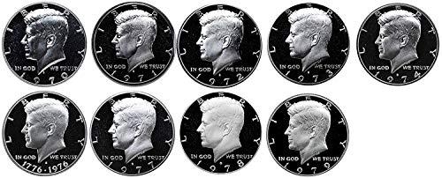 1970 S 1971 S 1972 S 1973 S 1974 S 1976 S 1977 S 1978 S 1979 S Kennedy Half Dollar Gem Run 9 Coin Set .50 US Mint Proof ()
