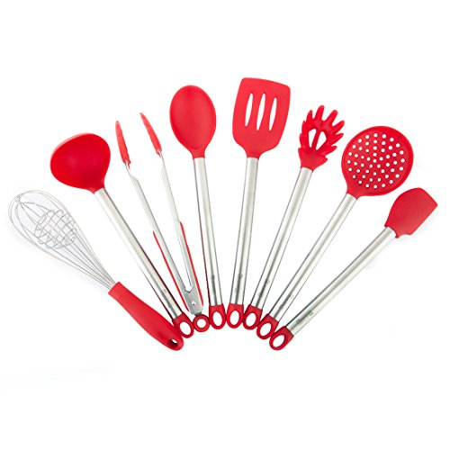 MICHELANGELO Stainless Steel & Silicone Kitchen Utensils Set, 8 Best Kitchen Utensils, Whisk And Spatulas Set For Nonstick Cookware, Red Utensils Set With Stainless Steel Handles