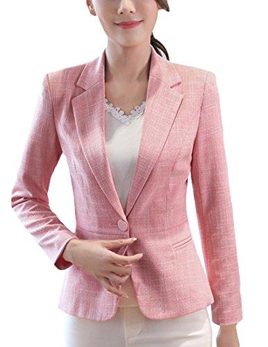 MFrannie Women Cotton Linen One Button Tweed Casual Work Lined Blazer Pink XL