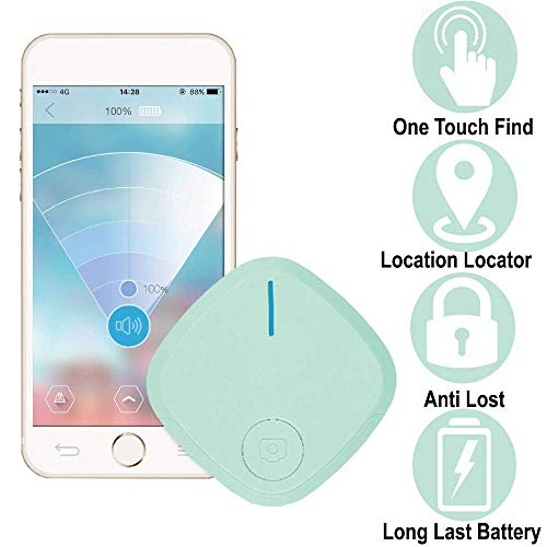 Smart Key-Finder Wireless Tracker for Phone Wallet Vehicle Luggage Kids-GPS-Tracker (1 Pack, Green)