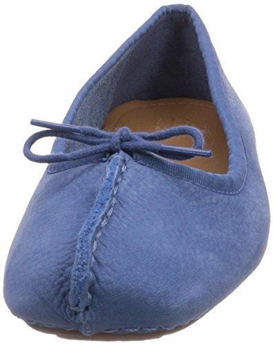 Clarks Women's Freckle Ice Ballet Flats Blue (Mid Blue Nubuck) Kym47