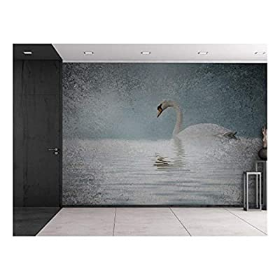 Lone Swan on a Lake with a Grainy Vignette Around It Wall Mural, With Expert Quality, Grand Picture