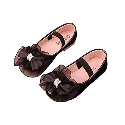 LINKEY Toddler Little Girl Mary Jane Flower Dress Up Shoes Dance Ballerina Flat with Bowknot Black Size (Black Flower Girl Shoes)