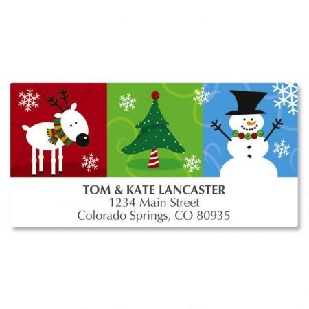 Reindeer and Friends Christmas Address Labels- 48 Self-Adhesive,Flat-Sheet Return Labels