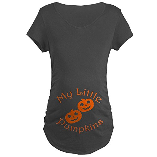 CafePress Little Pumpkins Twins Halloween Maternity T-Shirt Cotton Maternity T-shirt, Side Ruched Scoop Neck Charcoal ()
