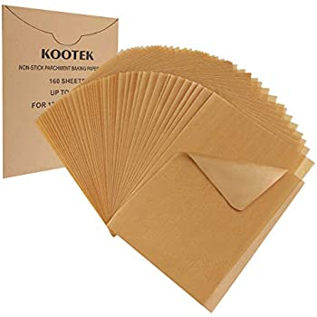 Kootek 160 Pcs Parchment Paper Unbleached Baking Sheets Pre-cut Parchments Sheet Liner, Non-stick for Baking Cooking Steaming