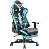 Homall Silla de gaming ergonómica con respaldo alto, asiento de piel sintética, silla de oficina giratoria para computadora, reposacabezas y apoyo lumbar, silla de computadora ejecutiva con reposapiés (azul)