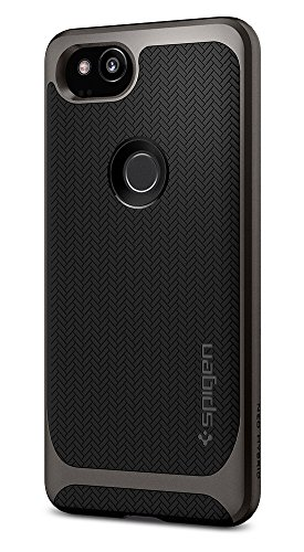 Gunmetal Frame (Spigen Neo Hybrid Herringbone Google Pixel 2 Case with Flexible Inner Protection and Reinforced Hard Bumper Frame for Google Pixel 2 (2017) - Gunmetal)